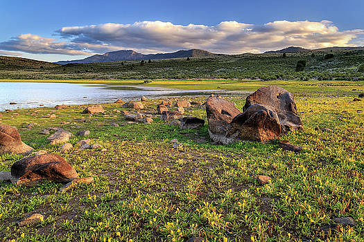 Rocks, Yellow Flowers And Thompson Peak by James Eddy