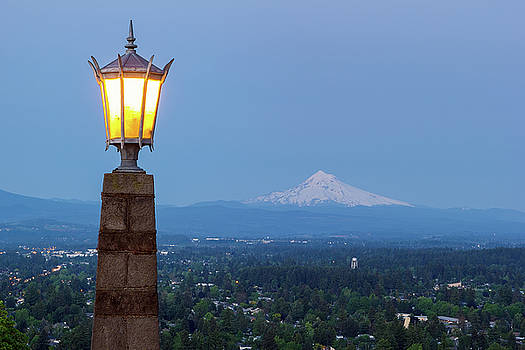 Rocky Butte Viewpoint with Mount Hood during Evening Blue Hour by David Gn