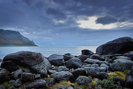 Rocky coast on island Senja in northern Norway by Intensivelight