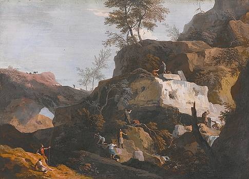Rocky Landscape With Stone Masons Working In A Quarry by MotionAge Designs
