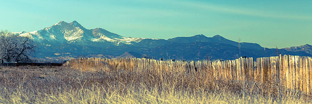 Rocky Mountain Twin Peaks Wood Fence View by James BO Insogna