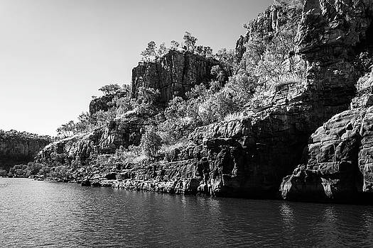 Rocky Sandstone cliffs in black and white at Katherine River Gorge, Australia by Daniela Constantinescu