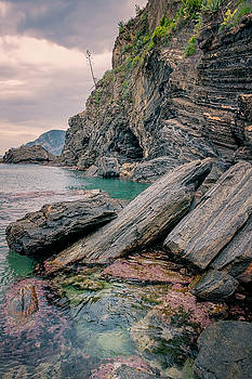 Rocky Shore and Tide Pools Vernazza Cinque Terre Italy  by Joan Carroll