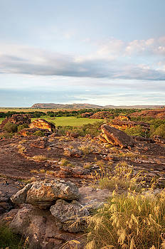Rocky terrain at golden hour in Ubirr Rock by Daniela Constantinescu