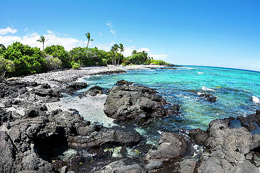 Rocky tropical beach in Hawaii by Joe Belanger