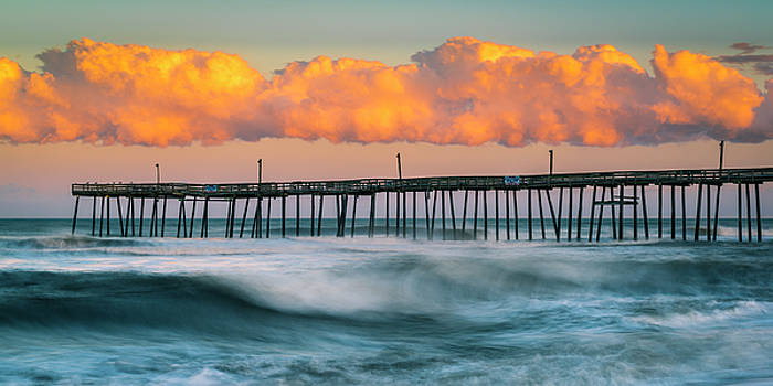 Ranjay Mitra - Rodanthe Fishing Pier and Clouds at Sunset Panorama