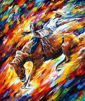 Rodeo-Dangerous Games - PALETTE KNIFE Oil Painting On Canvas By Leonid Afremov by Leonid Afremov