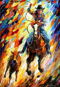 Rodeo-The Chase - PALETTE KNIFE Oil Painting On Canvas By Leonid Afremov by Leonid Afremov