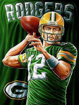 Rodgers Original painting for Sale 48x36 inches by Sports Art World Wide John Prince