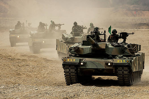 ROK tanks head off firing line in formation during Korea Marine Exercise Program by Paul Fearn