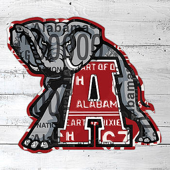 Design Turnpike - Roll Tide Alabama Crimson Tide Recycled State License Plate Art