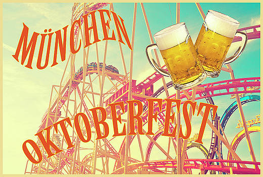 Munich Oktoberfest, vintage with beer glass and roller coaster by Luisa Vallon Fumi