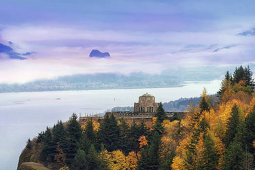Rolling Fog at Columbia River Gorge in Fall by David Gn