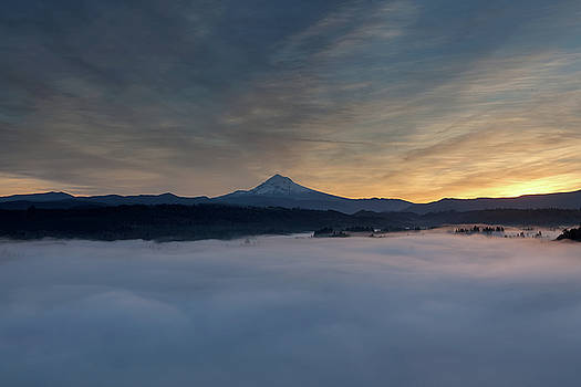 Rolling Fog over Mount Hood and Sandy River Valley by Jit Lim