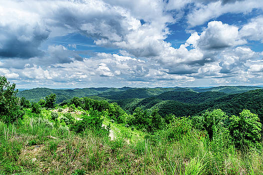 Rolling hills and Puffy Clouds by Lester Plank