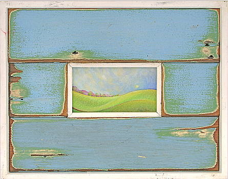 Rolling Hills in authentic Katrina recycled wood frame by Cheryl Brumfield Knox