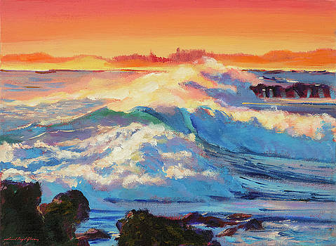 Rolling Ocean Surf - Plein Air by David Lloyd Glover