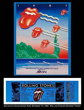 Rolling Stones 1981 Ticket and Poster by Paul Van Scott