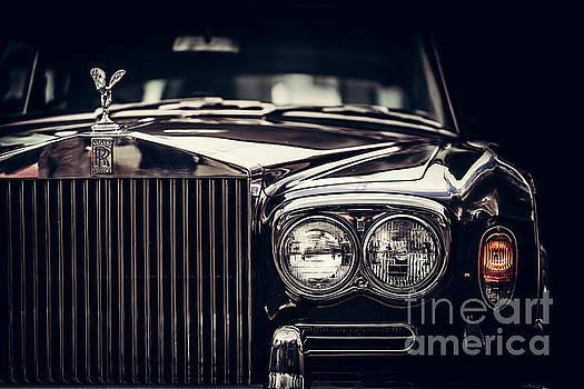 Michal Bednarek - Rolls-Royce - classic British car on black background, close-up.