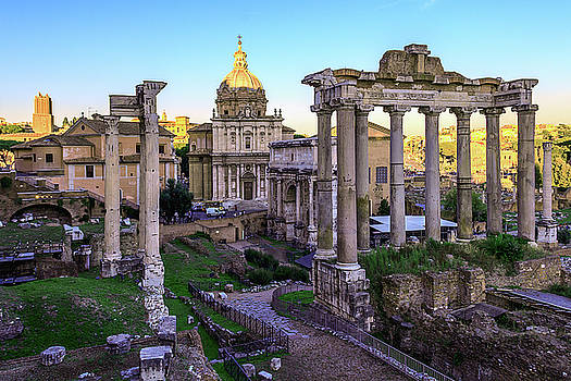 Roman forum at sunset of a Sunny autumn day by George Westermak