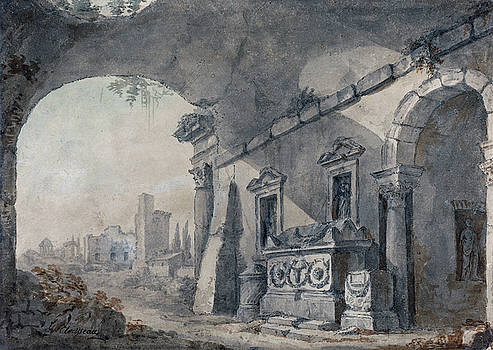 Charles Louis Clerisseau -  Roman Ruins with a Sepulchre