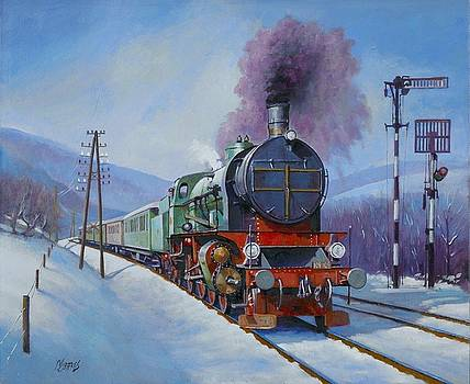 Romanian 2-8-0 in the snow by Mike Jeffries