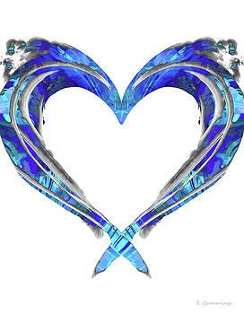 Sharon Cummings - Romantic Heart Art - Big Blue Love - Sharon Cummings