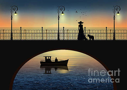 Romantic meeting by the river in the sunset by Monika Juengling