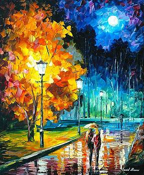 Romantic Night 2 - PALETTE KNIFE Oil Painting On Canvas By Leonid Afremov by Leonid Afremov
