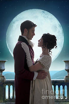 Romantic Regency Couple Silhouetted By The Full Moon by Lee Avison