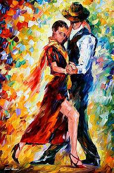 Romantic Tango - PALETTE KNIFE Oil Painting On Canvas By Leonid Afremov by Leonid Afremov