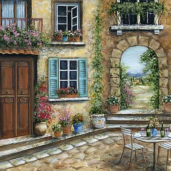 Romantic Tuscan Courtyard Il by Marilyn Dunlap