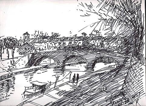Bridge at Isola Tiberina Rome Sketch by Ylli Haruni