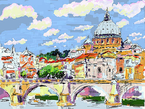 Rome Italy Ponte Sant Angelo and Basilica by Ginette Callaway