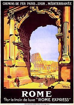 Rome par le train de luxe Rome Express, travel poster for PLM, 1921 by Vintage Printery