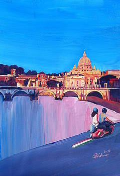 Rome Romantic Street Scene with Motorcycle and view of Vatican by M Bleichner