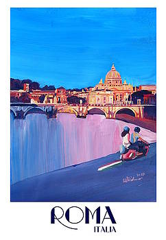 Rome Scene with Motorcycle and view of Vatican with Dome of St Peter - Retro Poster  by M Bleichner