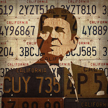 Ronald Reagan Presidential Portrait Made Using Vintage California License Plates by Design Turnpike