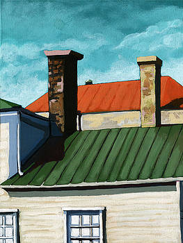 Rooftops city houses painting by Linda Apple