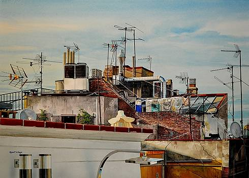 Rooftops of Barcelona by Robert W Cook