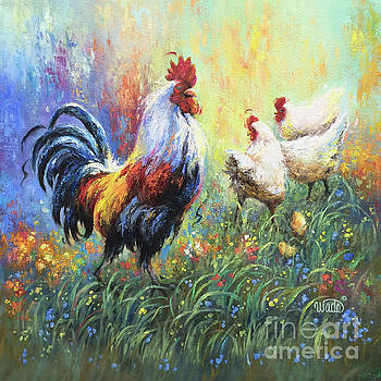 Rooster and Hens by Vickie Wade