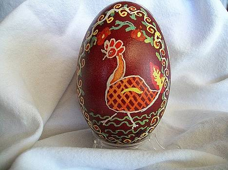 Rooster egg by Jenell Richards