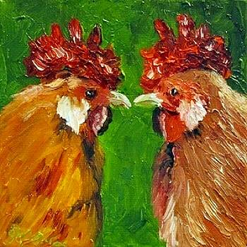 Rooster Face Off by Sandra Cutrer