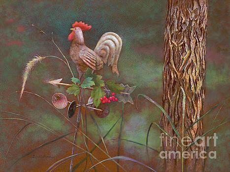 Rooster Weather Vane in Garden by Nancy Lee Moran