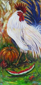 Pecking Time, Rooster by Sandra Cutrer