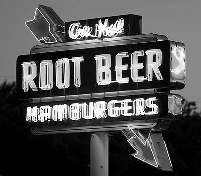 Root Beer Neon B W 053118 by Rospotte Photography
