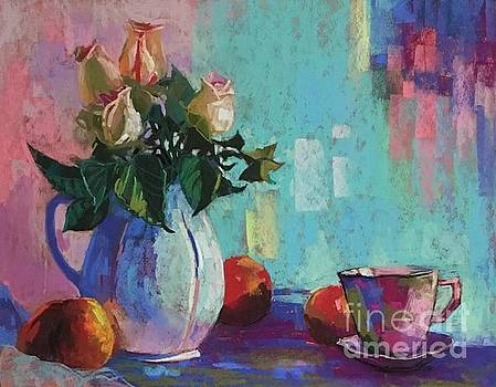 Rose and peaches still life by Celine  K Yong