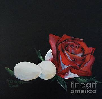 Rose and the Eggs Acrylic Painting by Shelley Overton