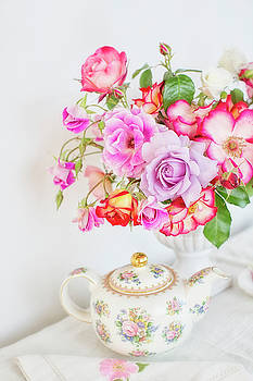 Rose Bouquet and Vintage Teapot by Susan Gary