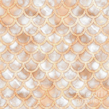 Tina Lavoie - Rose Gold Marble Mermaid Scales Abstract